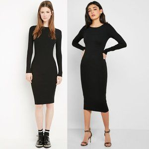 Forever 21 Black Long Sleeve Midi Bodycon Dress